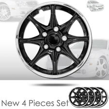 """NEW 16"""" ABS Plastic 8 Spikes Black Hubcaps Wheel Cover Hub Cap For JEEP 522"""