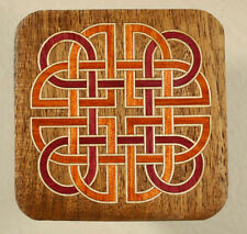 """""""Celtic Knot"""" Natural Wood Marquetry Coffee Coaster 3-1/2"""" (C-40)"""
