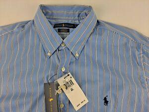 NEW Ralph Lauren Classic Fit Performance Men XL Blue Striped Shirt Nylon Blend B