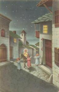 CHRISTMAS - NATIVITY SCENE - JESUS ON A DONKEY LED BY ANGEL CHILDREN VINTAGE PC