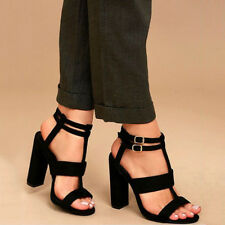 US Womens Ankle Strap Platform Ladies Chunky Block Heel Sandals Shoes Open Toe