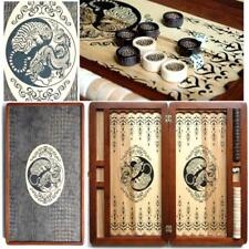 Yin Yang Luxury Wooden Backgammon Set Leather Pieces Tournament Board Game New