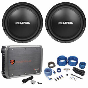 "2) Memphis Audio SRX1044 10"" 400w SRX Car Subwoofers Subs+Mono Amplifier+Amp Kit"