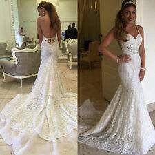 Tight Open Back Long Train Lace Mermaid Wedding Dress Bridal Gown Custom size