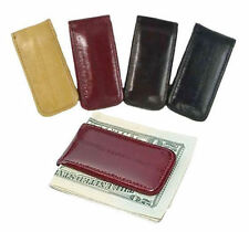EEL SKIN Leather Men Strong Magnetic Money Clip Bill Fold Holder Minialist