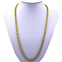 """MENS & WOMANS 5mm """"PVD BONDED 18k GOLD""""- 18"""", 20"""", 24"""" & 30"""" ROPE CHAIN Necklace"""