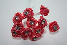 12 x 12mm riche rose corail strass satin cristal ruban roses filaire tiges