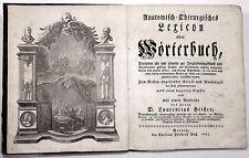 Kurella, Ernst Gottfried.  Anatomisch-Chirurgisches Lexicon oder Wörterbuch 1753