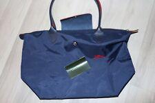 Longchamp Le Pliage CLUB SMALL Navy Blue Nylon Short Leather Top Handle Bag