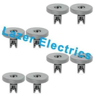 8 x Grey Lower Basket Wheels For AEG Electrolux Zanussi Tricity Dishwashers