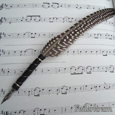 Guinea Fowl Feather Quill Pen (leather grip) for Calligraphy writing