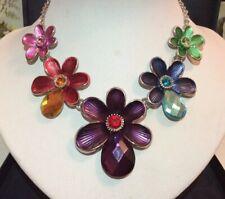 Vintage Inspired Jewellery Striking Silver Enamel & Crystal Flower Link Necklace