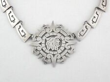 Large Sterling Silver Necklace Aztec Warrior Pendant Stamped 925 Mexico RARE *
