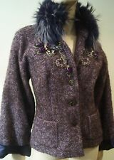 OPPIO Made In Italy Lilac Purple Fur & Jewelled Detail Winter Jacket I42 UK10