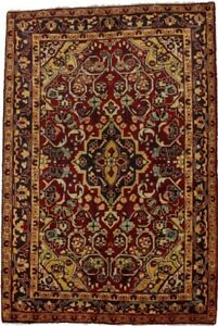 Handmade Tribal Floral Style 3'5X5'2 Red Small Entryway Area Rug Oriental Carpet