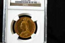 EX RARE British Double Sovereign Victoria 1887 Almost Mint - NGC Graded AU-58