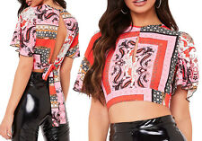 Short Bell Sleeve Crop Top Womens Tie Up Retro Print Open Back Keyhole Top Cheap