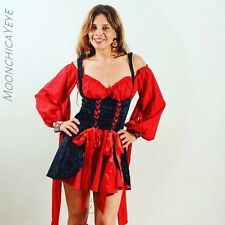 Women's Vixen Pirate Wench Costume Size S Small Black Red Lace Up Leg Avenue