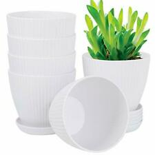 6 Inch Plant FlowerPot Indoor Plastic Planters Drainage Hole Set of 6 stand sale