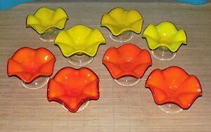 8 grandes coupes à dessert glace fruit vintages en verre soufflé atisanal