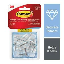 3M Command 9 Small Wire Hooks 12 Adhesive Strips Wall Hanger VALUE PACK 17067