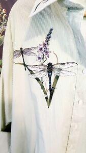 "LAS OLAS Plus 1X Green White Striped Dragonflies Shirt ~ 56"" Bust"