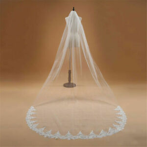 RULTA Handmade 2T 3M Lace Cathedral Wedding Veil & Comb Sequins Bridal Veil J1