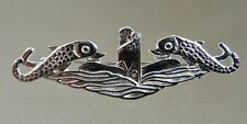 US NAVY Licensed Submarine dolphin mess dress 38mm sterling pin Badge Deep Wave
