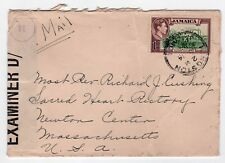 1940s CROSS ROADS JAMAICA BWI Cover CENSOR Cardinal Cushing Boston USA Alvernia
