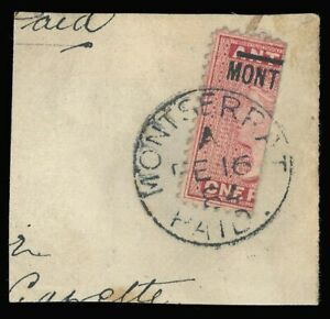 Montserrat 1864 QV 1d red BISECTED (½d) used [cat £1600 ($2160) on cover]. SG 6a