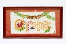 Vintage 1950s Paragon Needlecraft Embroidered Christmas Sampler Matted & Framed