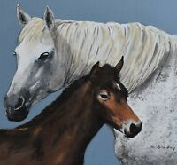 M Bradley Original Watercolour Painting - Mare & Foal (Horses) (British Art)