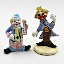 """Ceramic Clown Figurines Circus Funny Creepy Scary 4"""" and 4.5"""" Tall Lot of 2"""