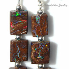 Dangle Earrings 10.75 CTW Boulder Opal 925 Sterling Silver 6 Squares Nice Fire