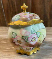 M Z Austria 1044 Cherry Blossoms & Gold Antique Tobacco Humidor Hand Painted