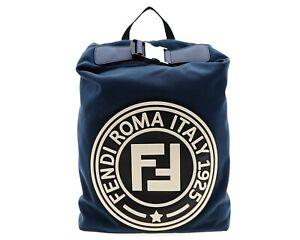 Fendi Zaino Logo Backpack Blue Canvas New