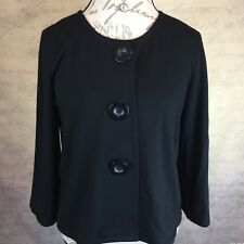 Max Studio Women's Cropped Cardigan 3 Large Buttons Black 3/4 Wide Sleeve Size M