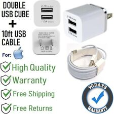 10ft USB Cable + 2.1A Double USB Cube Wall Charger for iPhone 6S,SE,7,8,X[H1-10f