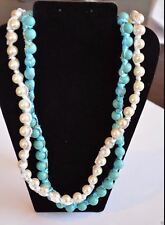 "Vivi Cookie Lee Turquoise Meets Pearls Necklace Set of 2 NWT 32"" - 37"""