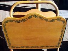 30's Ratan Magazine Rack-Hand painted ivy leaves,woven- nice condition-Original