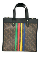 New Coach Field Tote  With Horse And Carriage Print And Varsity Stripe