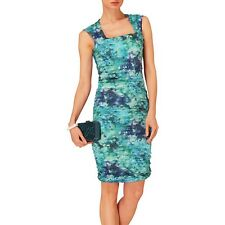 PHASE EIGHT CLAUDETTE CRUSH BLUE GREEN RUCHED BODYCON DRESS 10 (8) £140