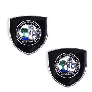 2x Black AMG Affalterbach Sticker Fender Body Emblem Badge for Mercedes Benz