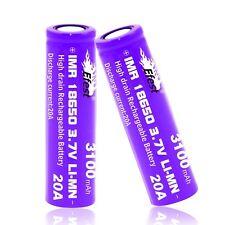 2x Genuine Efest IMR 18650 High Drain 20A Li-Mn Battery 3100mAh Purple Flat Top