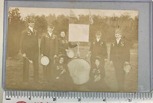 """Salvation Army VIntage Post Card  Band with Large Lapel """"S's"""""""