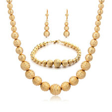 Womens Blacelet Chain 65 Beads Necklace Set Yellow Gold Filled Fashion Jewelry
