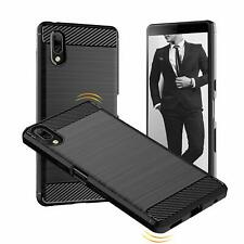 For Sony Xperia L3 Carbon Gel Case Cover Glass Screen Protector & Stylus Pen