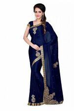ruarya fabric navy satin chiffon embroidery designer saree with blouse