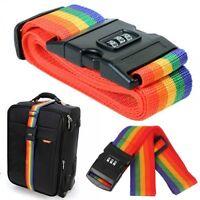 2 X Adjustable Combination Luggage Suitcase Straps Travel Baggage Tie Belt Lock