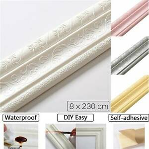 3D Self-sticking Waterproof Home Wall Border Wall Decor Removable Sticker 230cm.